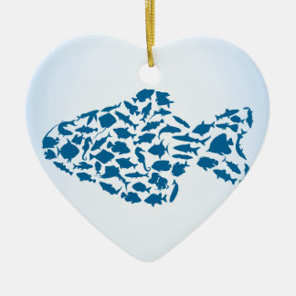 Fische Keramik Herz-Ornament
