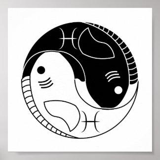 Fische yin Yang-Fischastrologie-Tierkreissymbol Poster