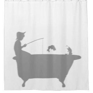 Fischen-Jungen-Fische hinter Duschvorhang