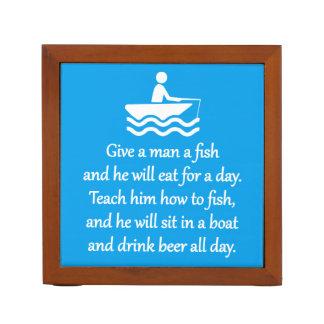 Fischen und Bier - sarkastische Zen-Phrase Stifthalter