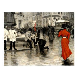 Fischer - die Dame im Rot Postkarte