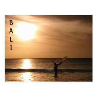Fischer gegen den Sonnenuntergang Postkarte