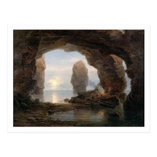 Fischer in einer Grotte, Helgoland, 1850 (Öl kann Postkarte