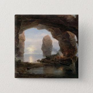Fischer in einer Grotte, Helgoland, 1850 (Öl kann Quadratischer Button 5,1 Cm