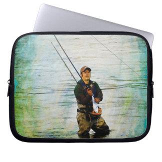 Fischer u. Rod, die draußen Entwurf fischen Laptopschutzhülle