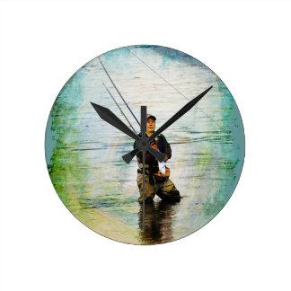 Fischer u. Rod, die draußen Entwurf fischen Runde Wanduhr
