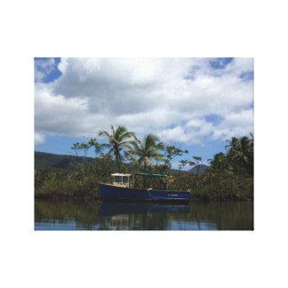 Fischerboot-Leinwand Leinwanddruck