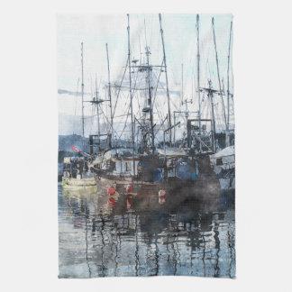 Fischerboot-Wasserfarbe Mojo Tuch Prinz-Rupert