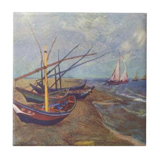 Fischerboote auf dem Strand durch Vincent van Gogh Fliese