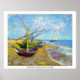 Fischerboote auf dem Strand durch Vincent van Gogh Poster