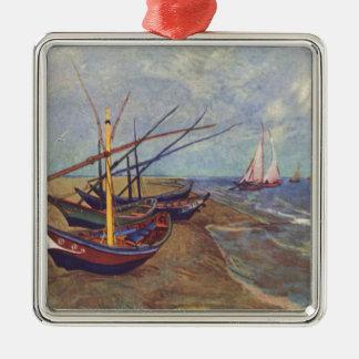 Fischerboote auf dem Strand durch Vincent van Gogh Quadratisches Silberfarbenes Ornament