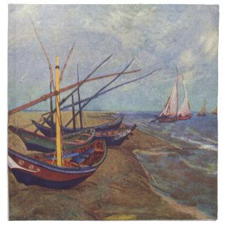 Fischerboote auf dem Strand durch Vincent van Gogh Stoffserviette