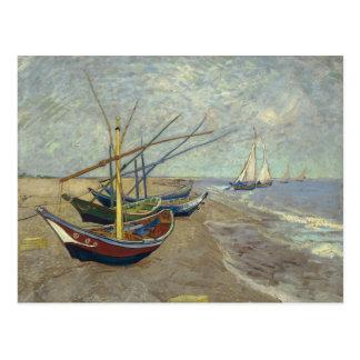 Fischerboote auf dem Strand Postkarte