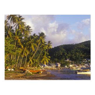 Fischerboote, Soufriere, St Lucia, karibisch Postkarte