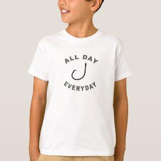 Fischerei-Haken den ganzen Tag tägliches R T-Shirt