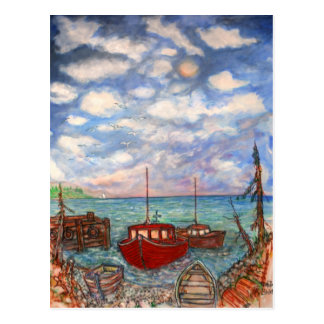 Fischerei im Maritimes Postkarte