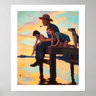 Fischerei mit Vati. Vintager Kunst-Druck Poster