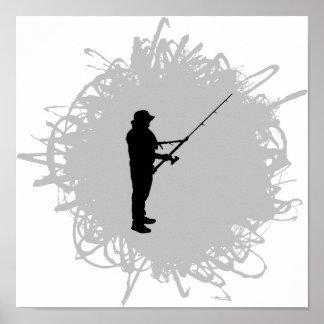 Fischerei von Gekritzel-Art Poster