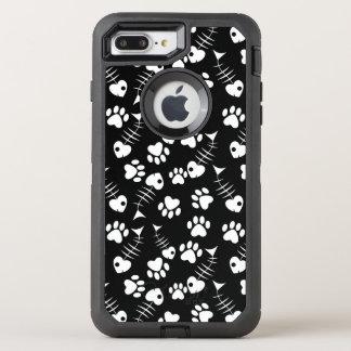 Fischgrätekatzen-Druckmuster OtterBox Defender iPhone 8 Plus/7 Plus Hülle