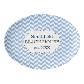 Fischgrätenmuster-blauer weißer porzellan servierplatte