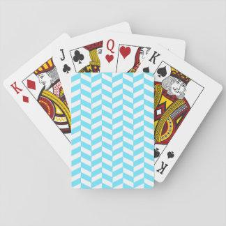 Fischgrätenmuster-weißes helles blaues spielkarten