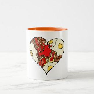 Fischrogen herauf Herz-Tasse Zweifarbige Tasse