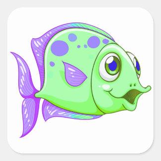 FISH8B QUADRATISCHER AUFKLEBER