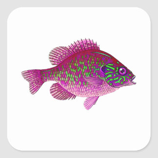 FISH9d Quadratischer Aufkleber