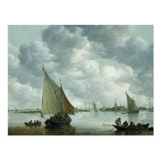 Fishingboat in einer Mündung, 1655 Postkarte