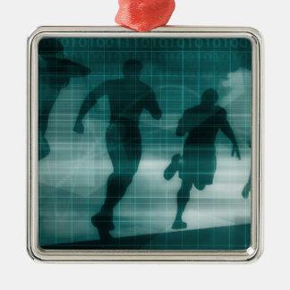 Fitness-APP-Verfolger-Software-Silhouette Silbernes Ornament