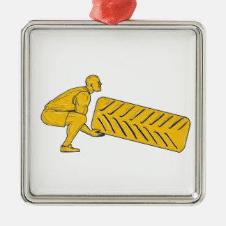 Fitness-Athleten-Hockenanhebendes Reifen-Zeichnen Quadratisches Silberfarbenes Ornament