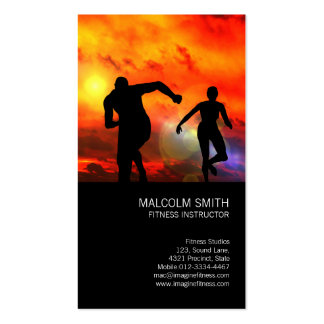 Fitness-Lehrer-Läufer im Sonnenuntergang Visitenkarten