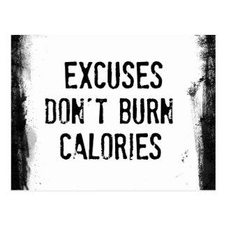 Fitness-Zitat. Entschuldigungen brennen nicht Postkarten