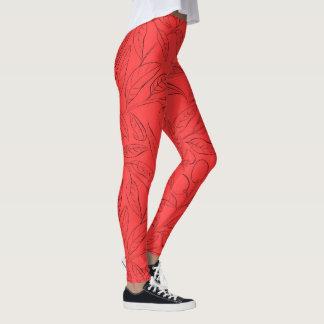 Fitnessgamaschen mit natürlichem Muster im Rot Leggings