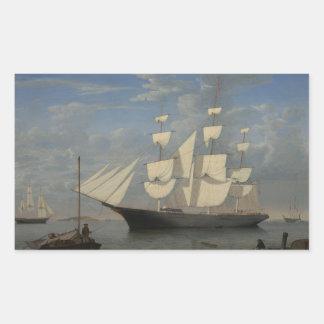 Fitz Henry Weg - Starlight im Hafen Rechteckiger Aufkleber