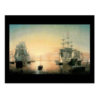 Fitz Hugh Weg-Boston-Hafen Postkarte