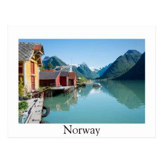 Fjærland und Postkarte des Fjords, Norwegen Grenz