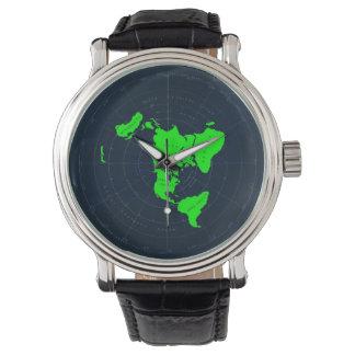 Flache Erdkarten-Scheiben-Armbanduhr Armbanduhr