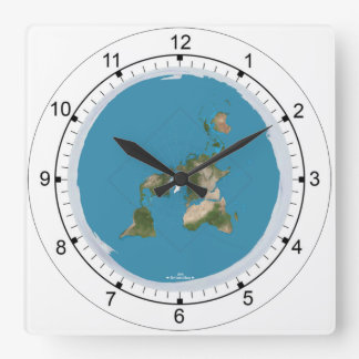 Flache Erdkarten-Scheiben-Uhr Quadratische Wanduhr