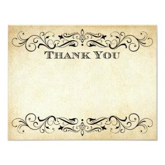 Flache Hochzeit danken Ihnen kardiert Vintages | 10,8 X 14 Cm Einladungskarte