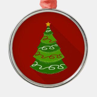 Flacher Entwurfs-Weihnachtsbaum Rundes Silberfarbenes Ornament