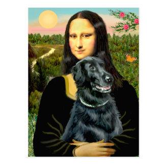 Flacher überzogener Retriever 2 - Mona Lisa Postkarte