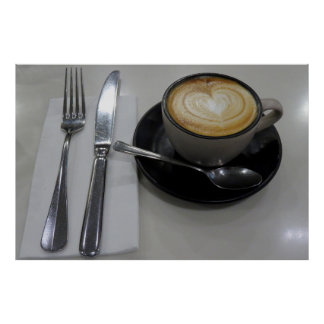 Flacher weißer Kaffee Poster