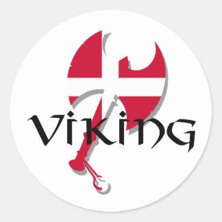 Flagge Dänische-Vikings Dänemark Axt Runder Aufkleber