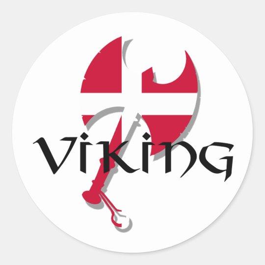 Flagge Dänische Vikings Dänemark Axt Runder Aufkleber