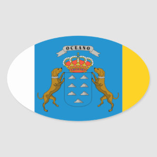 Flagge der Insel-(Spanien) Ovaler Aufkleber