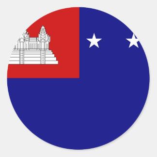 Flagge der Khmer-Republik (សាធារណរដ្ឋខ្មែរ) Runder Aufkleber
