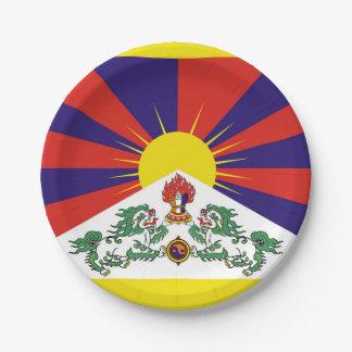 Flagge der Tibet- oder Schnee-Löwe-Flagge Pappteller
