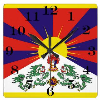 Flagge der Tibet- oder Schnee-Löwe-Flagge Quadratische Wanduhr