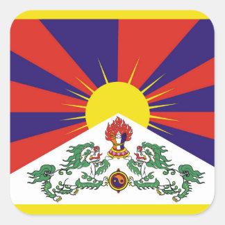 Flagge der Tibet- oder Schnee-Löwe-Flagge Quadratischer Aufkleber